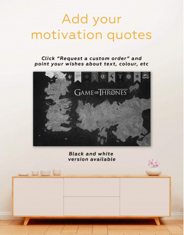 Games of Thrones Map with House Flags Canvas Wall Art - image 1