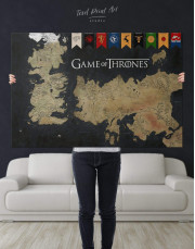 Games of Thrones Map with House Flags Canvas Wall Art - Image 5