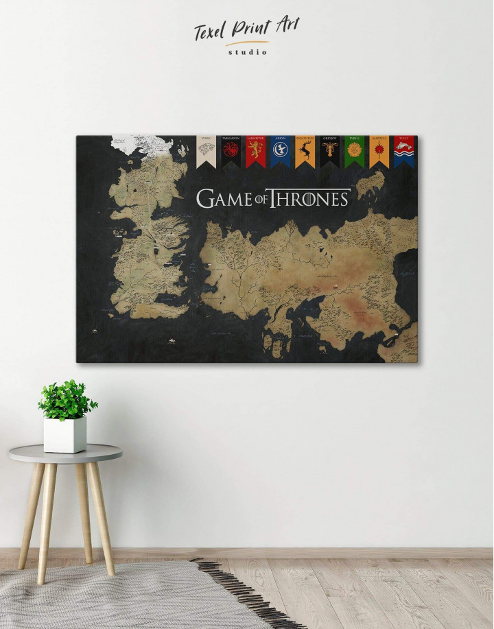 Games of Thrones Map with House Flags Canvas Wall Art - Image 0