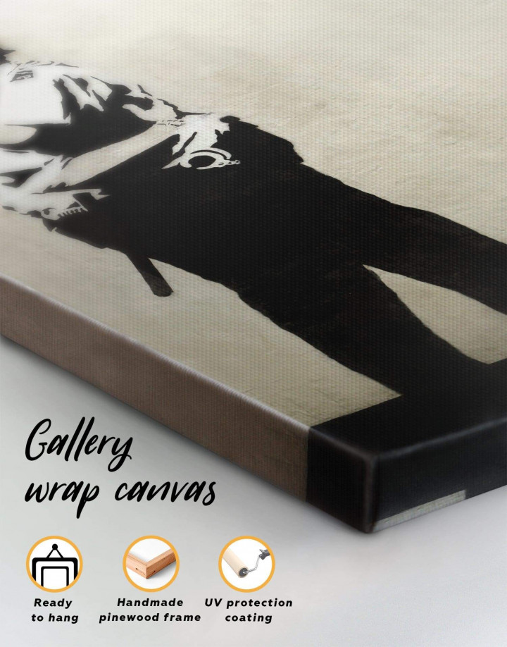 Banksy Kissing Coppers Canvas Wall Art - Image 1