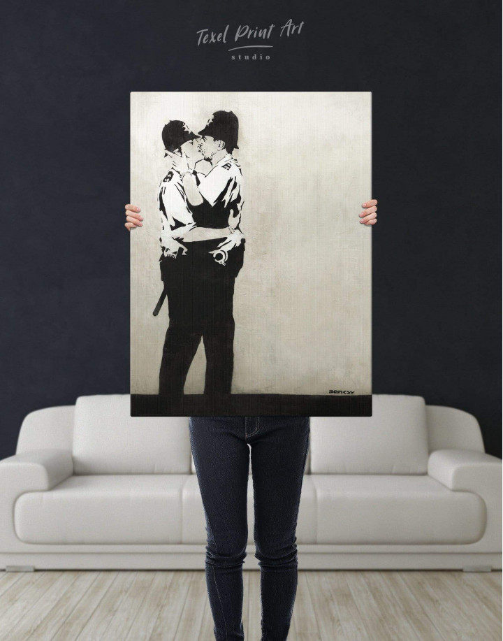 Banksy Kissing Coppers Canvas Wall Art - Image 2