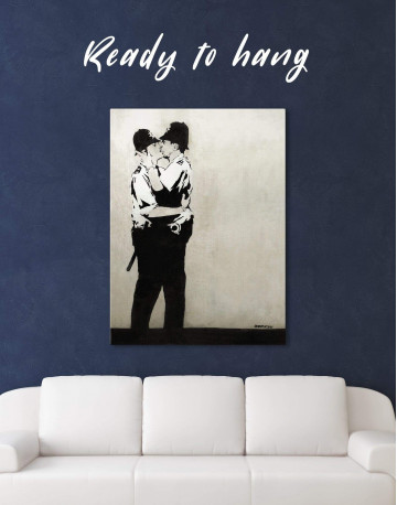 Kissing Coppers Canvas Wall Art