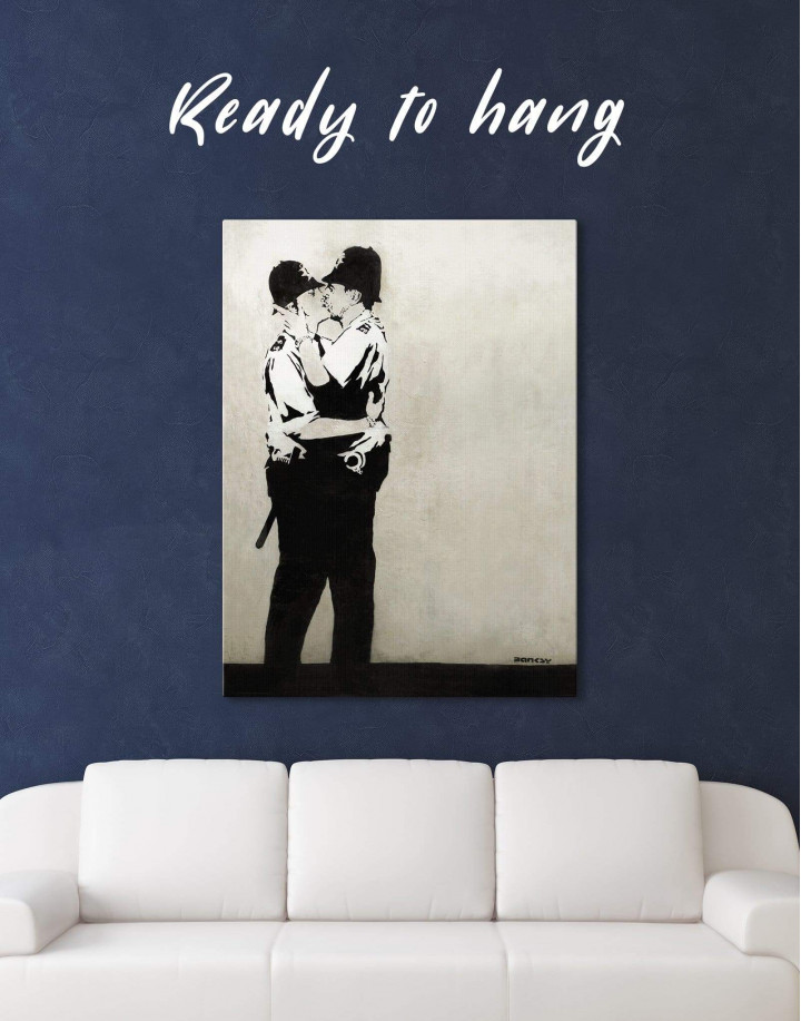 Banksy Kissing Coppers Canvas Wall Art - Image 0