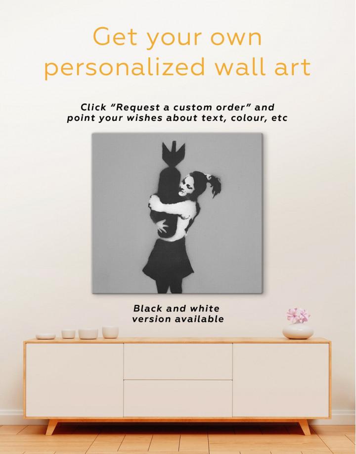 Bomb Hugger by Banksy  Canvas Wall Art - Image 1