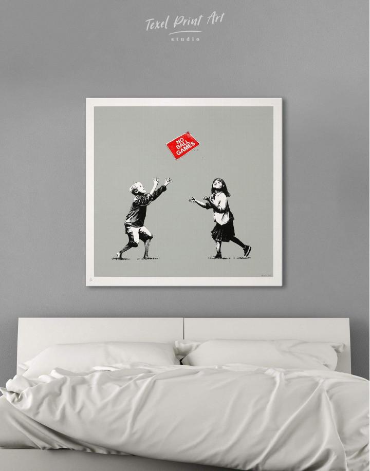 No Ball Games by Banksy Canvas Wall Art - Image 1
