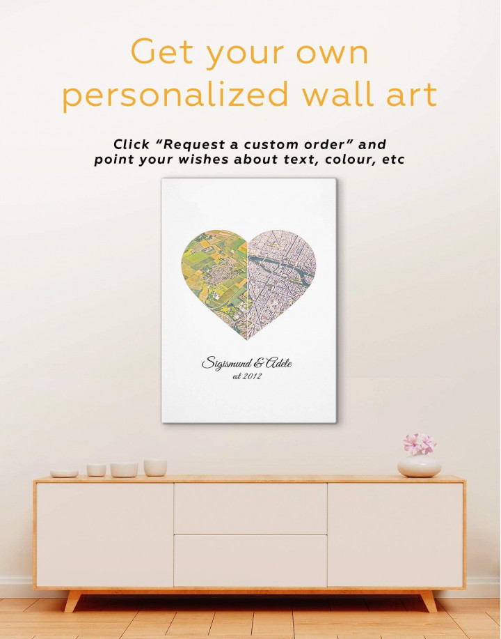 Romantic Map  Canvas Wall Art - Image 1
