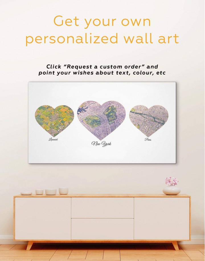 Heart Map  Canvas Wall Art - Image 1