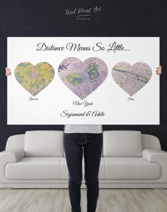 Original Personalized Map Print on Canvas Home Is Where The Heart ...