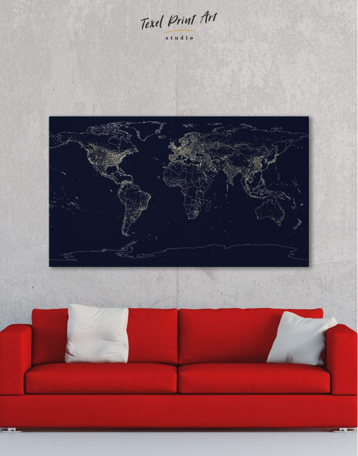 Abstract Map With Lights Canvas Wall Art - Image 5