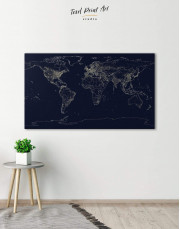 Abstract Map With Lights Canvas Wall Art - Image 0