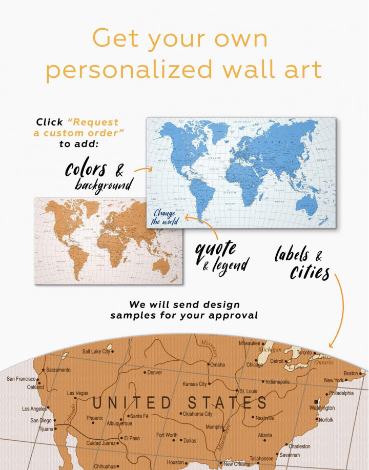 Gold Detailed World Map  Canvas Wall Art - Image 3