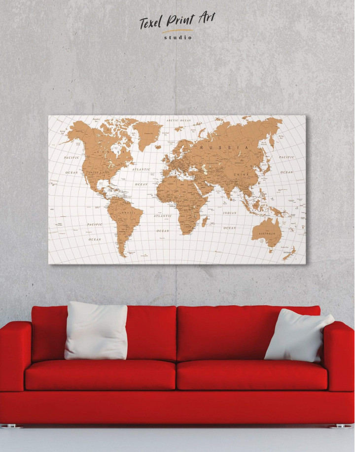 Gold Detailed World Map  Canvas Wall Art - Image 0
