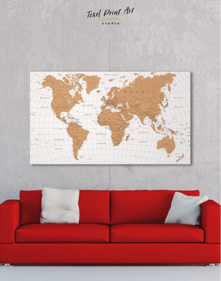 Gold Detailed World Map Canvas Wall Art