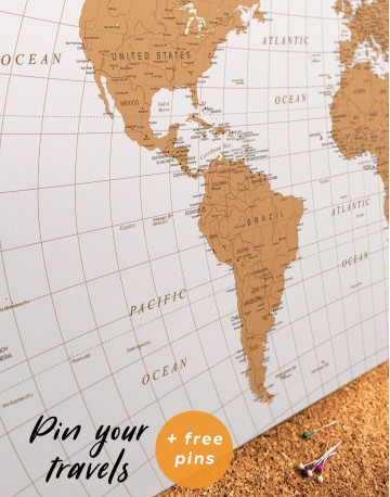 Gold Detailed World Map Canvas Wall Art - image 4