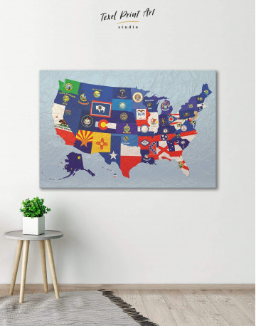USA Map with Flags Canvas Wall Art - image 6