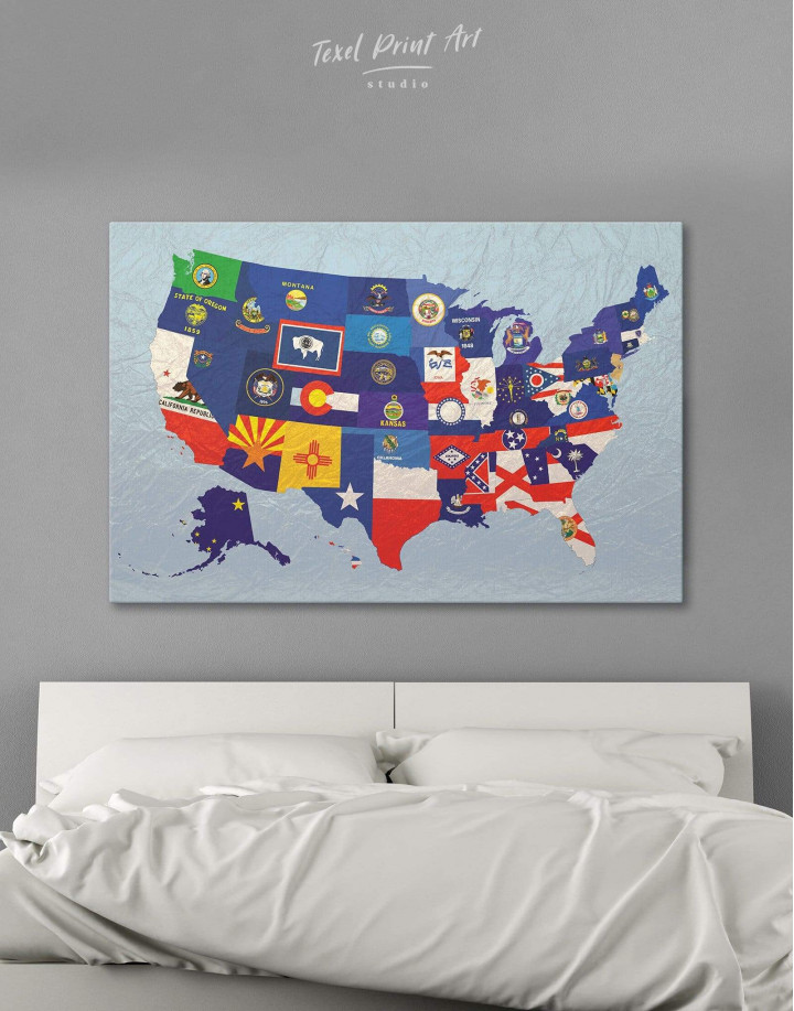 USA Map with Flags Canvas Wall Art - Image 0