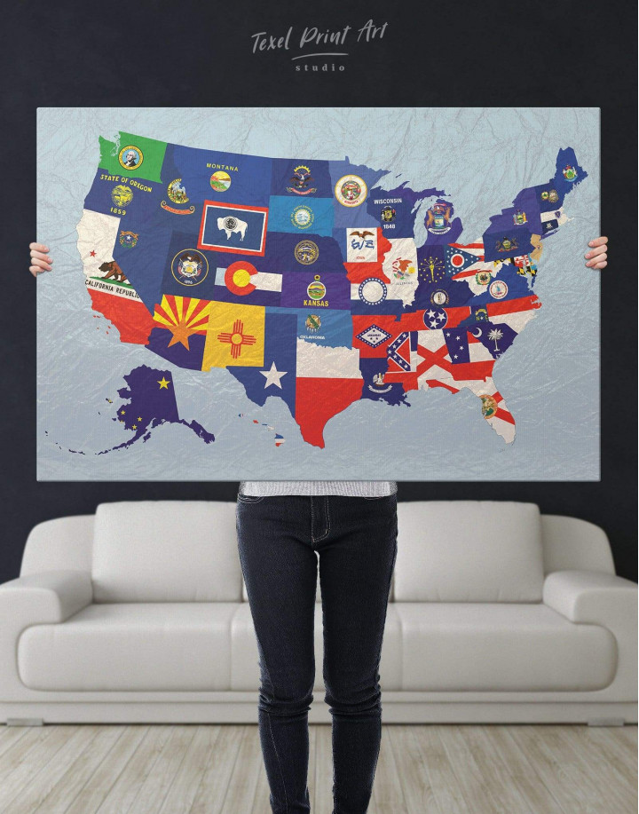 USA Map with Flags Canvas Wall Art - Image 5
