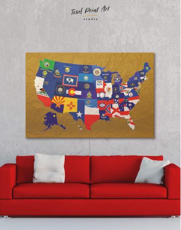 USA Golden Map Canvas Wall Art