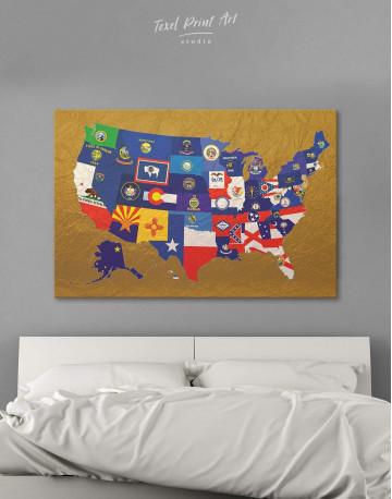 USA Golden Map Canvas Wall Art - image 6