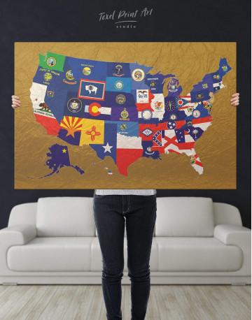 USA Golden Map Canvas Wall Art - image 5