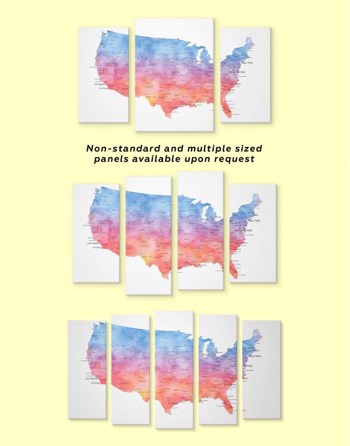 Colorful USA Map  Canvas Wall Art - Image 2