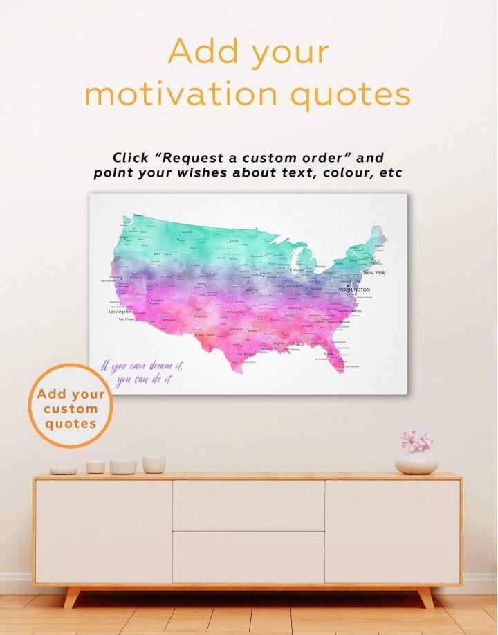Colorful USA Map  Canvas Wall Art - Image 1