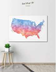 Colorful USA Map  Canvas Wall Art - Image 0