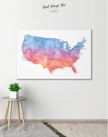 Colorful USA Map Canvas Wall Art