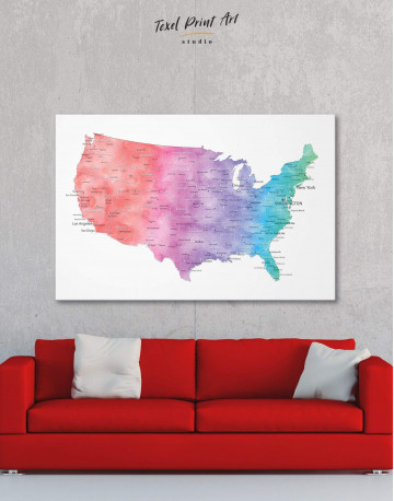 Colorful Travel Map of the USA Canvas Wall Art - image 6
