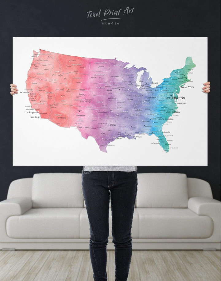 Colorful Travel Map of the USA  Canvas Wall Art - Image 2