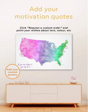 Colorful Travel Map of the USA Canvas Wall Art - image 1