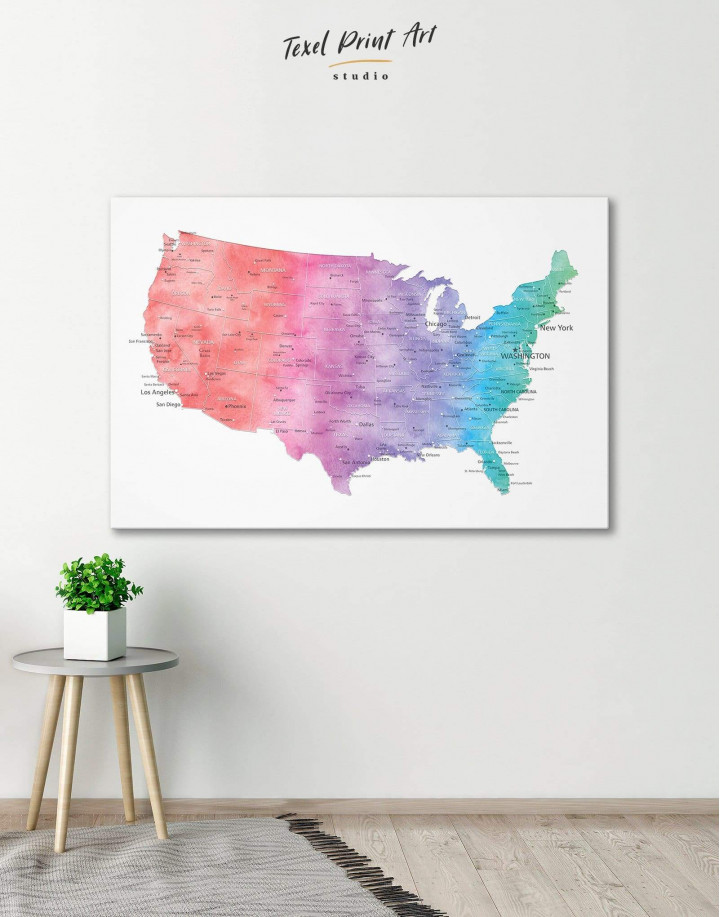 Colorful Travel Map of the USA  Canvas Wall Art - Image 0