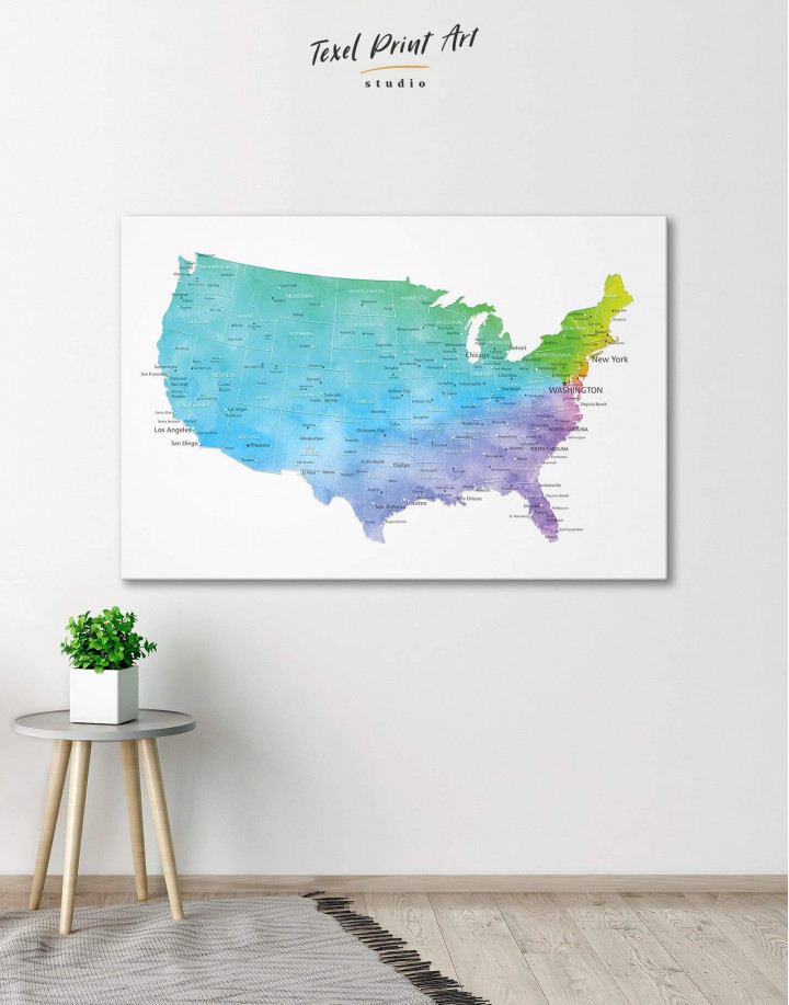 Blue USA Map  Canvas Wall Art - Image 0