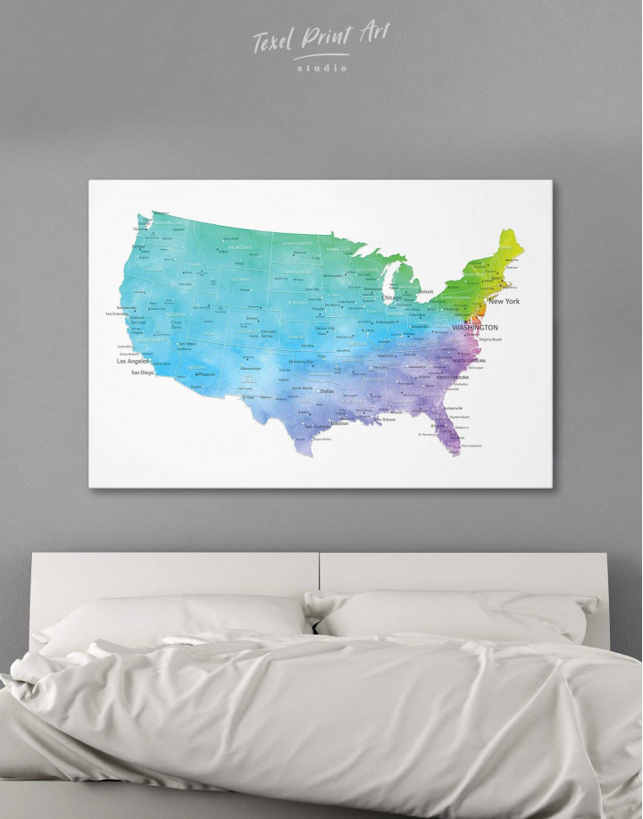 Blue USA Map  Canvas Wall Art - Image 6