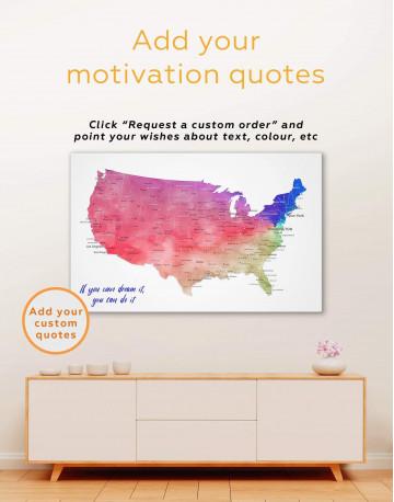 Blue USA Map Canvas Wall Art - image 1