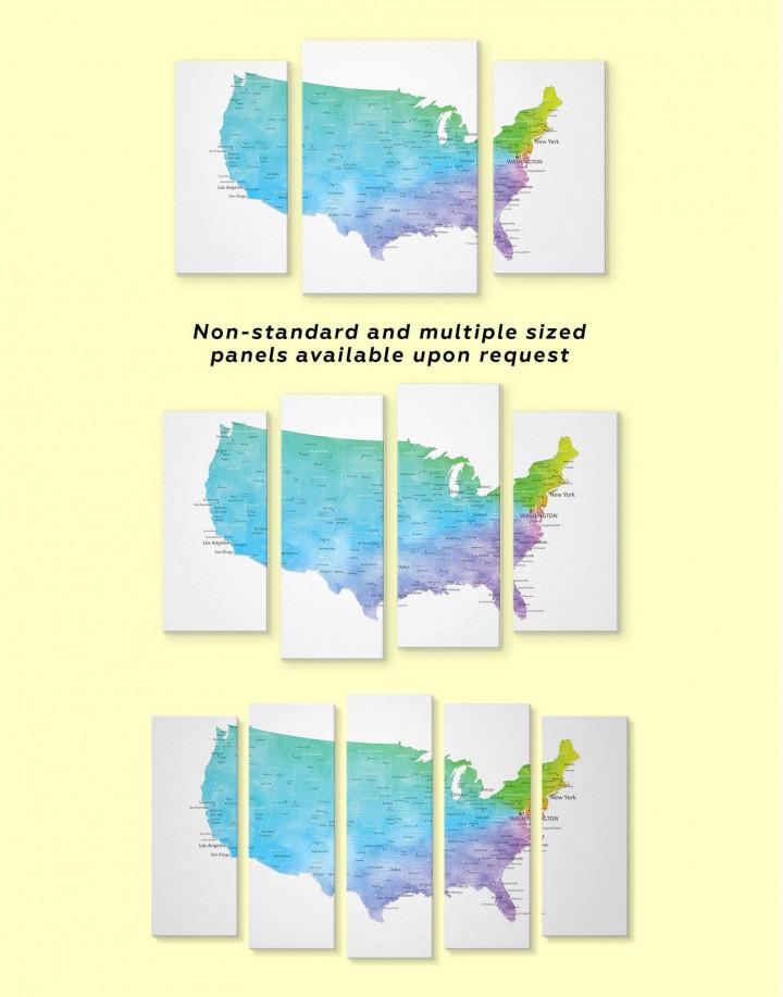 Blue USA Map Canvas Wall Art - Image 2