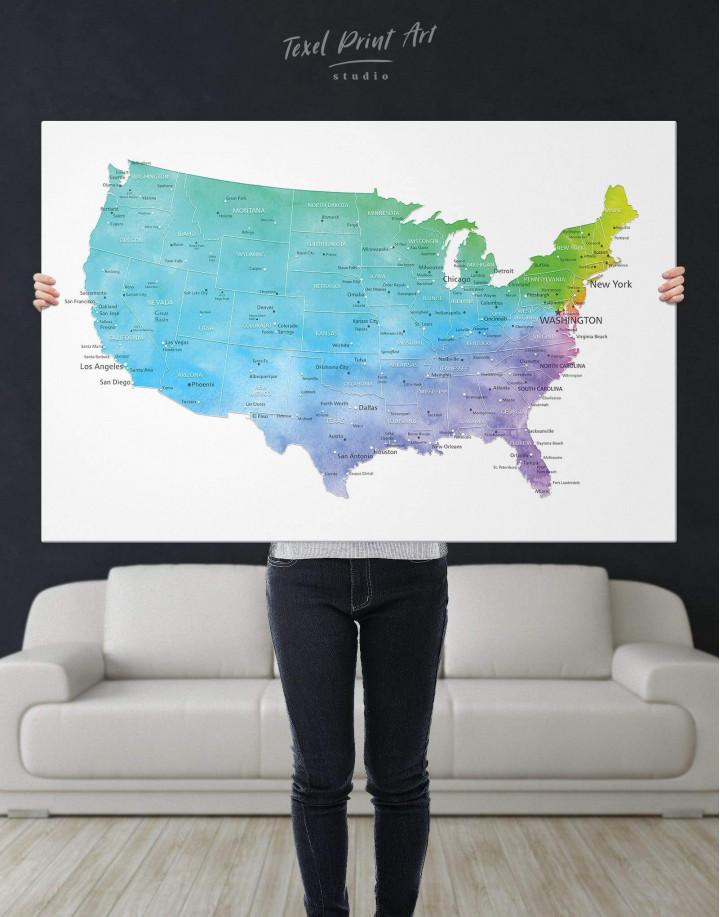 Blue USA Map  Canvas Wall Art - Image 5