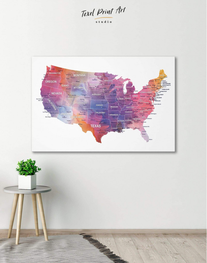 USA States Map  Canvas Wall Art - Image 0