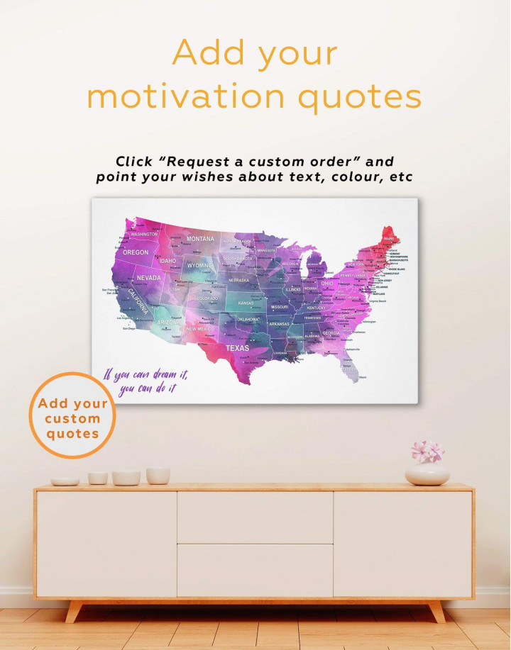USA States Map  Canvas Wall Art - Image 1