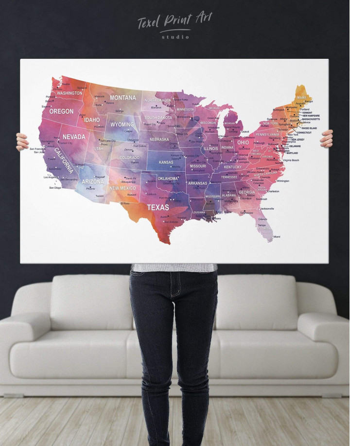 USA States Map  Canvas Wall Art - Image 5