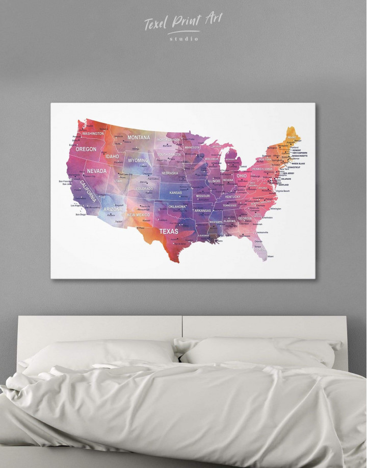 USA States Map  Canvas Wall Art - Image 6