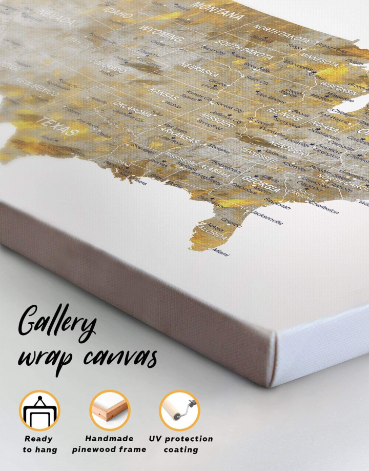 USA States Golden Map  Canvas Wall Art - Image 6