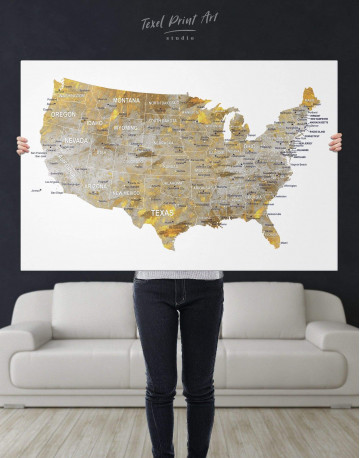 USA States Golden Map Canvas Wall Art - image 3