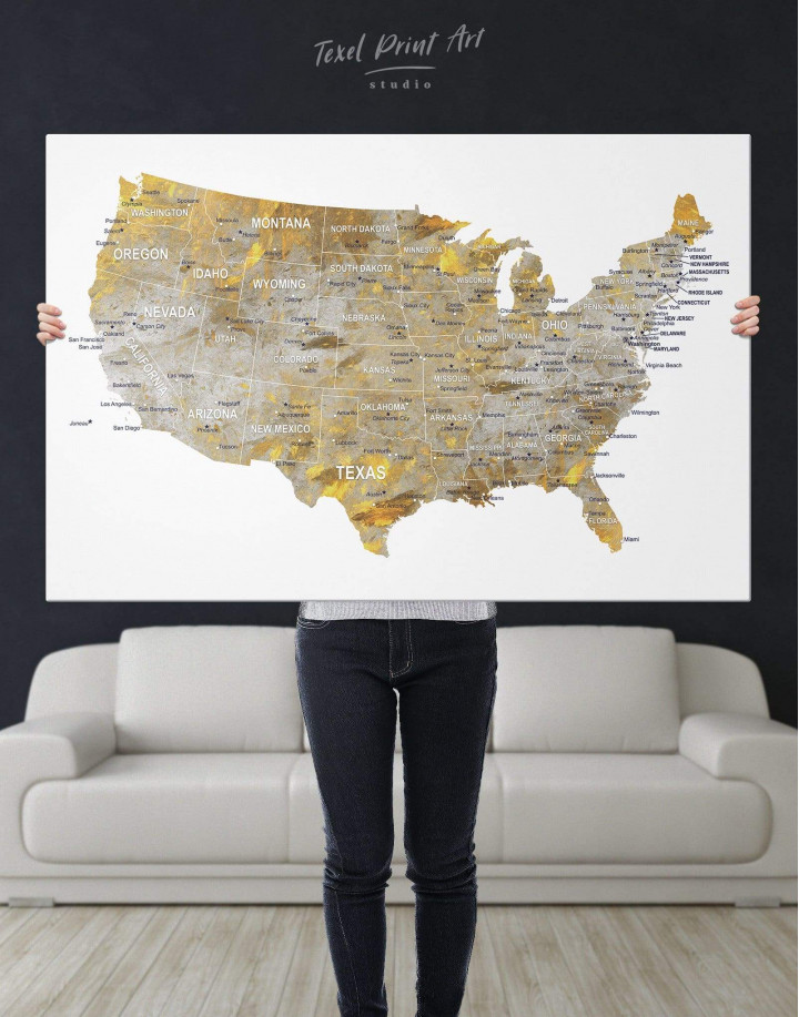 USA States Golden Map  Canvas Wall Art - Image 4