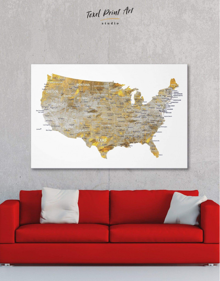 USA States Golden Map  Canvas Wall Art - Image 5