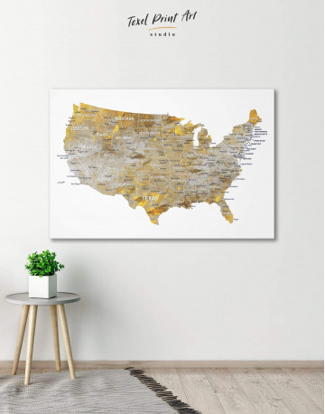 USA States Golden Map Canvas Wall Art