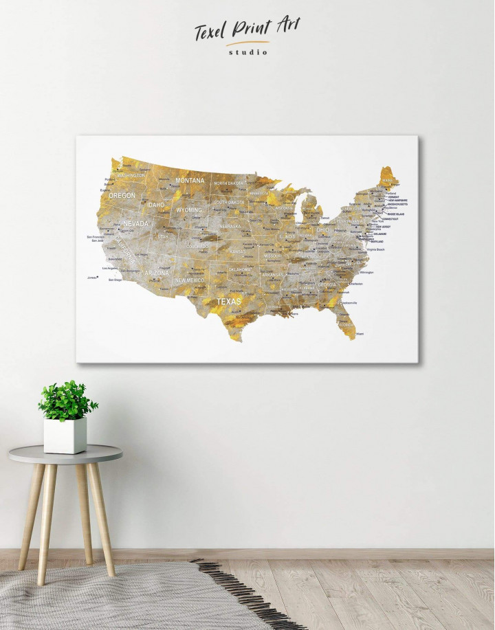 USA States Golden Map  Canvas Wall Art - Image 0