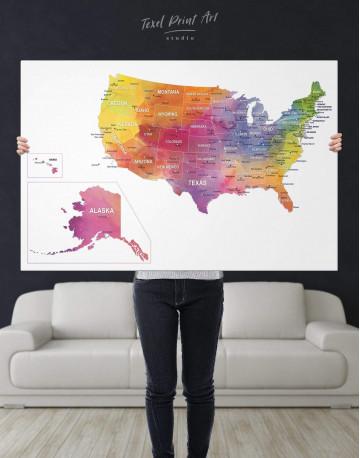 Watercolor US Travel Map Canvas Wall Art - image 2