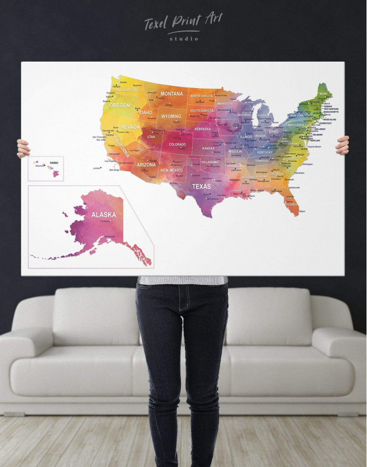 Watercolor US Travel Map Canvas Wall Art - Image 5