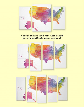 Watercolor US Travel Map Canvas Wall Art - image 5